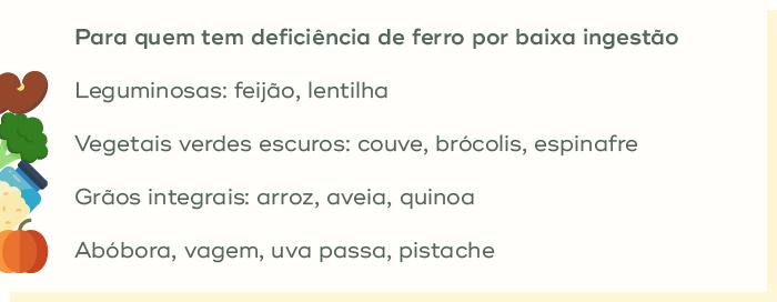 alimentos para quem tem deficiencia de ferro por baixa ingestão